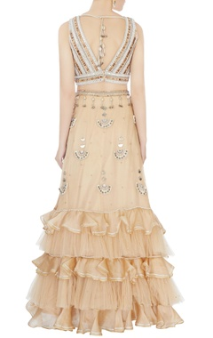 beige hand embroidered blouse with ruffle lehenga & dupatta