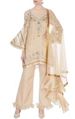 Surily G beige cold-shoulder kurta with flared pants & dupatta