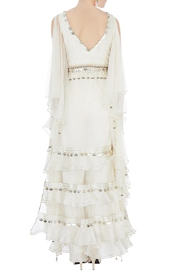 cream organza & net cold-shoulder kurta set