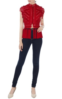 Surily G Red mirror embroidered short jacket
