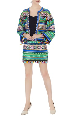 Surily G multicolored ikat dyed hand-embroidered jacket