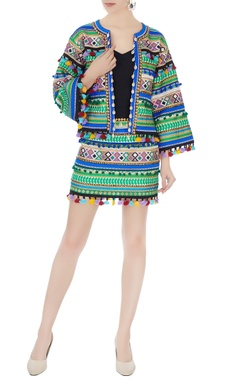 Surily G multicolored ikat dyed mini skirt