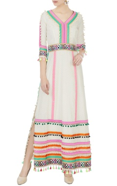 Surily G cream hand-embroidered bead & tassel anarkali