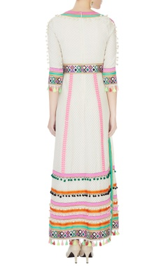 cream hand-embroidered bead & tassel anarkali