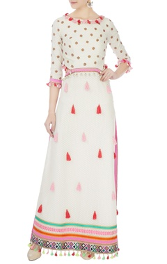 Surily G cream hand-embroidered back open long kurta