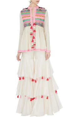 Surily G Cream short angrakha with flared ruffle pants & dupatta