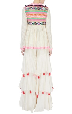 Cream short angrakha with flared ruffle pants & dupatta