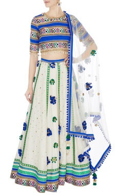 Surily G blue & cream hand-embroidered lehenga set