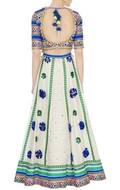 blue & cream hand-embroidered lehenga set