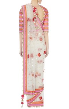 Cream rajasthani shell work sari with tie-up blouse