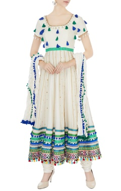 Surily G cream hand-embroidered shell anarkali set