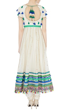 cream hand-embroidered shell anarkali set