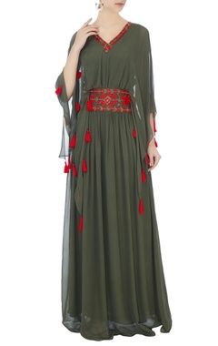 Surily G khaki green long georgette kaftan