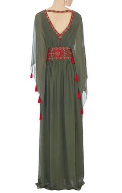 khaki green long georgette kaftan