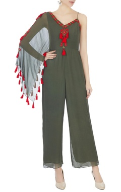 Surily G khaki green one-shoulder bead hand-embroidered jumpsuit
