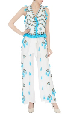 Surily G white tassel & bead hand-embroidered palazzos