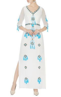 Surily G white hand embroidered tassel maxi dress