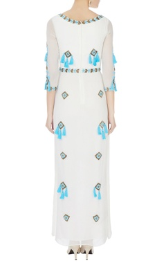 white hand embroidered tassel maxi dress