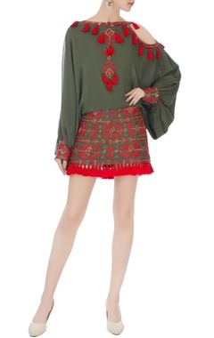 Surily G khaki green tassel mini skirt