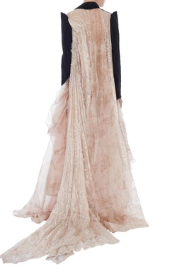 dull pink dramatic flared lace gown with attached jacket