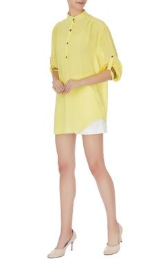Komal Sood Yellow georgette chinese collar top