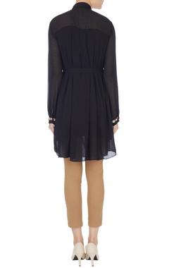 Black georgette zardozi embroidered shirt tunic