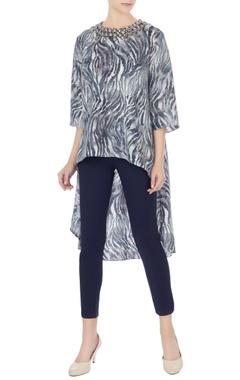 Komal Sood Black & grey crepe high-low tunic