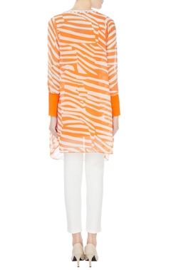 Orange & cream printed georgette tunic