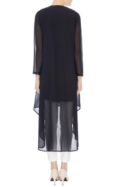 Black georgette beaded neckline tunic