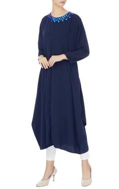 Komal Sood Blue crepe silk embroidered neckline kurta