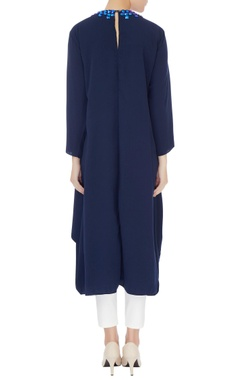 Blue crepe silk embroidered neckline kurta
