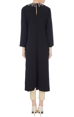 Black crepe silk long kurta