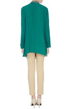 Green stone embroidered neckline georgette tunic