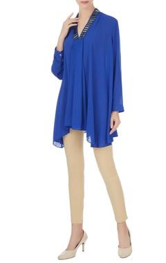Komal Sood Royal blue georgette box pleated short tunic