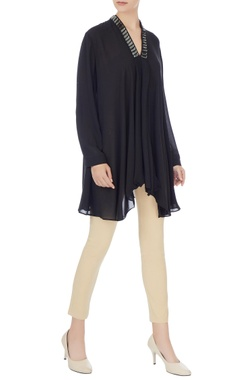 Komal Sood Black georgette box pleated short tunic
