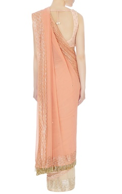 Peach georgette embroidered sari & blouse