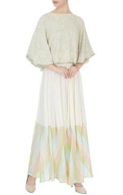 light green georgette beaded embellishment cape