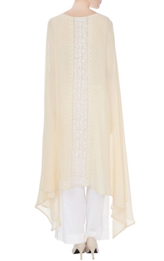 Lemon georgette applique work cape kurta