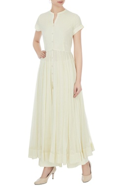off white cotton solid anarkali set