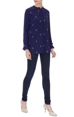 Anjul Bhandari Navy blue crepe embroidered shirt