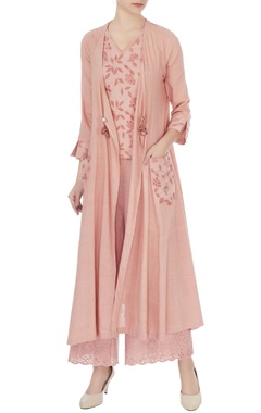Anjul Bhandari Old rose cotton embroidered long jacket with blouse and pants