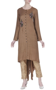 Joy Mitra  Embroidered tunic with asymmetric hemline
