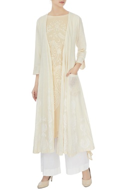 Anjul Bhandari Ivory cotton embroidered long jacket