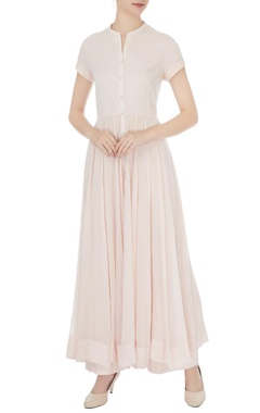 light pink cotton solid anarkali set
