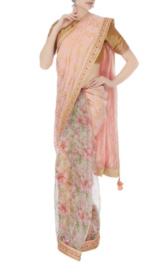 Pink organza & chanderi embroidered sari with unstitched blouse