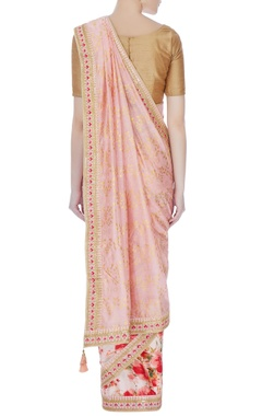 Pink floral satin linen sari with unstitched blouse