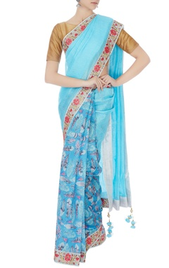 blue chanderi & handwoven linen printed sari with unstitched blouse