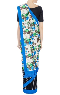 Black & white floral pallu linen sari with unstitched blouse