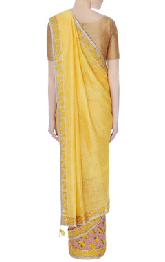 pink & yellow raw silk embroidered border sari with unstitched blouse