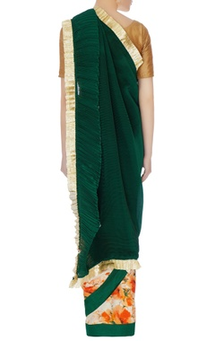 Green pleated satin linen sari with unstitched blouse